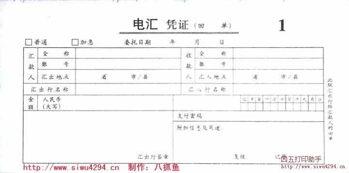 电汇凭证打印模板