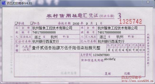 农信社电汇凭证打印模板