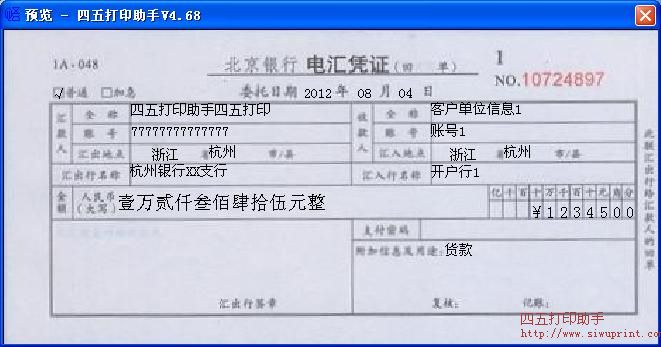 北京银行电汇凭证打印模板